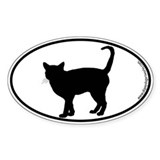 Cat Standing SILHOUETTE Oval Decal