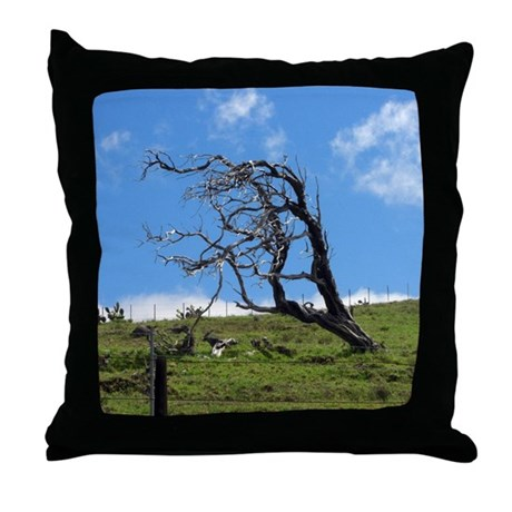 Windblown Tree Throw Pillow