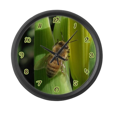 White Flower Bee Large Wall Clock