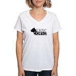 Black Cane Corso Women's V-Neck T-Shirt
