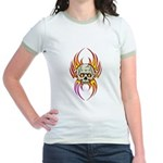 Flaming Skull Jr. Ringer T-Shirt