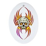 Flaming Skull Oval Ornament