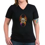 Flaming Skull Women's V-Neck Dark T-Shirt