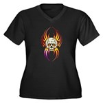 Flaming Skull Women's Plus Size V-Neck Dark T-Shir