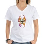 Flaming Skull Women's V-Neck T-Shirt