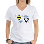 Bee & Panda Attitude/Humor Women's V-Neck T-Shirt