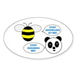 Bee & Panda Attitude/Humor Oval Sticker (50 pk)
