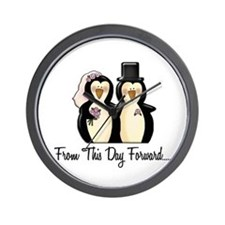 Mr & Mrs Penguin (From This Day Forward) Wall Cloc
