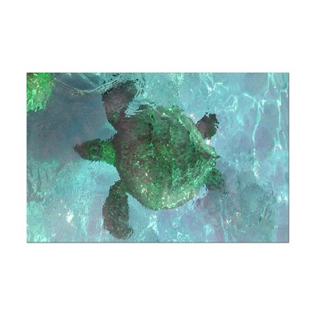 Green Sea Turtle Mini Poster Print