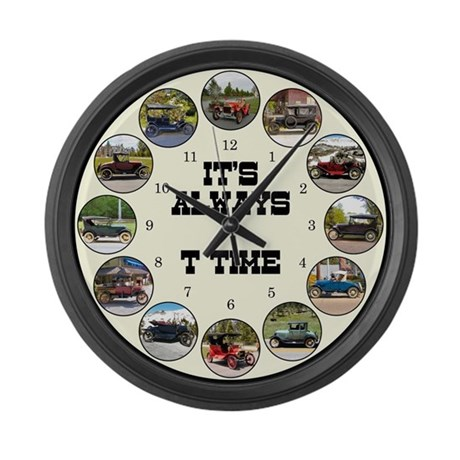 T Time antique car Large Wall Clock