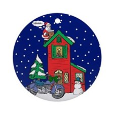 A Motorcycle For Christmas Ornament (Round)