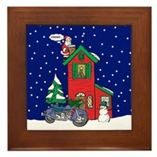 A Motorcycle For Christmas Framed Tile