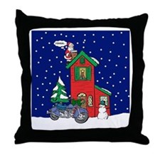 A Motorcycle For Christmas Throw Pillow