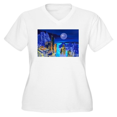 Fantasy Cityscape Women's Plus Size V-Neck T-Shirt