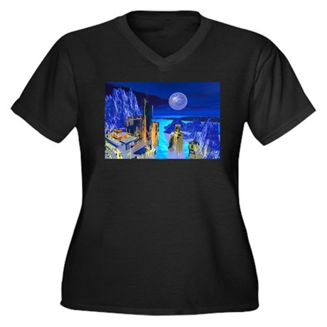 Fantasy Cityscape Women's Plus Size V-Neck Dark T-