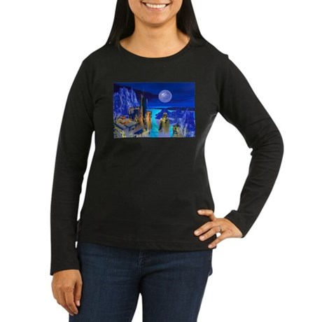 Fantasy Cityscape Women's Long Sleeve Dark T-Shirt