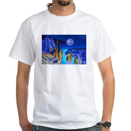 Fantasy Cityscape White T-Shirt
