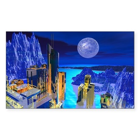 Fantasy Cityscape Rectangle Sticker 50 pk)