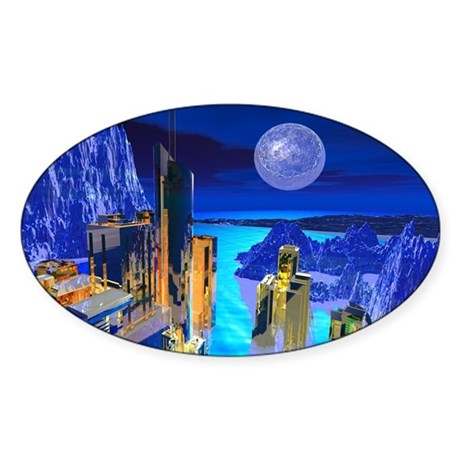Fantasy Cityscape Oval Sticker (50 pk)