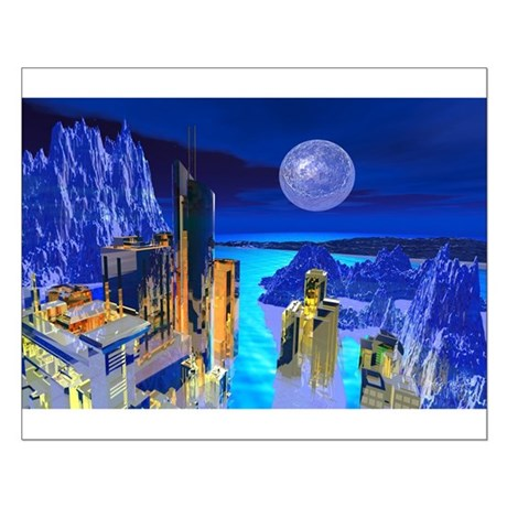 Fantasy Cityscape Small Poster