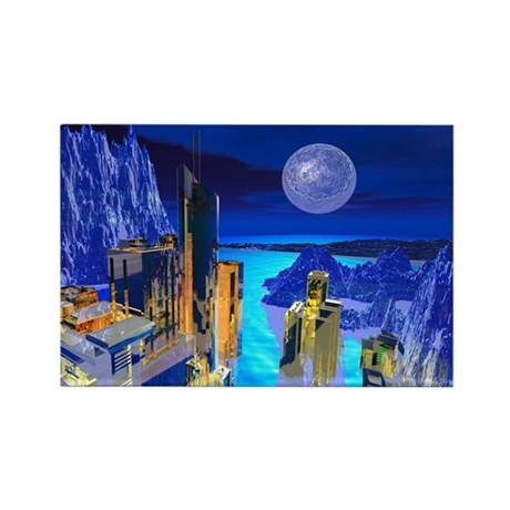 Fantasy Cityscape Rectangle Magnet (100 pack)