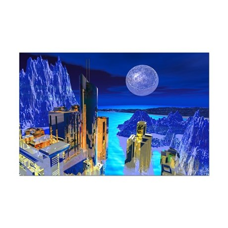 Fantasy Cityscape Mini Poster Print
