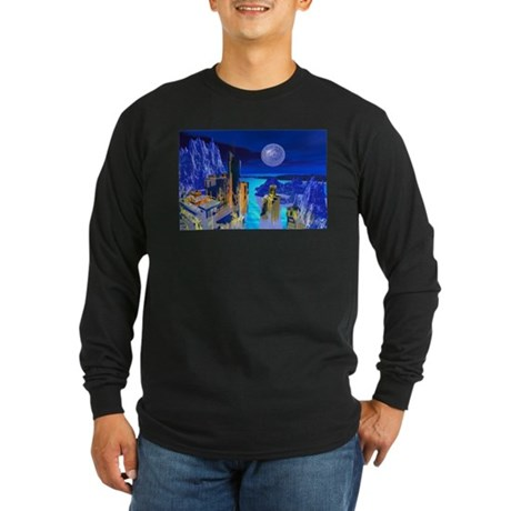 Fantasy Cityscape Long Sleeve Dark T-Shirt