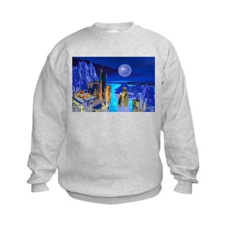 Fantasy Cityscape Kids Sweatshirt