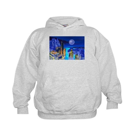 Fantasy Cityscape Kids Hoodie