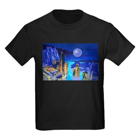 Fantasy Cityscape Kids Dark T-Shirt