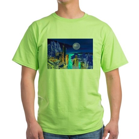 Fantasy Cityscape Green T-Shirt