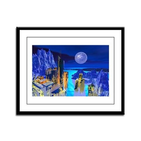 Fantasy Cityscape Framed Panel Print