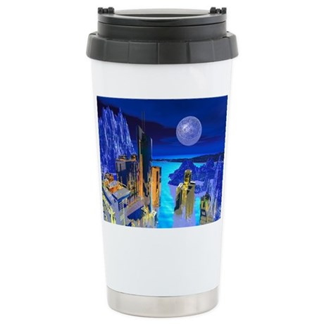 Fantasy Cityscape Ceramic Travel Mug