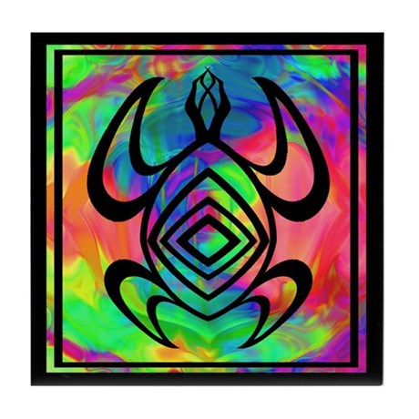 Tiedye Turtle Tile Coaster