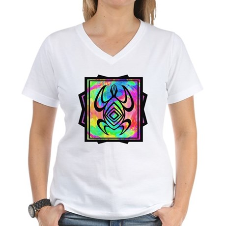 Tiedye Turtle Women's V-Neck T-Shirt