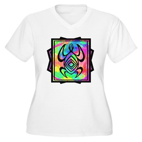 Tiedye Turtle Women's Plus Size V-Neck T-Shirt