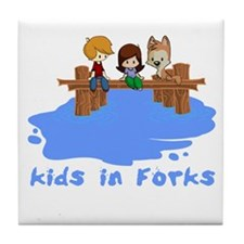 Kids in Forks Tile Coaster