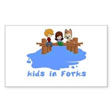 Kids in Forks Rectangle Decal