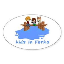 Kids in Forks Oval Sticker (10 pk)