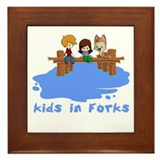 Kids in Forks Framed Tile