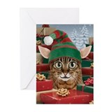 Santa's Elf Cat Christmas Cards (Pk of 10)