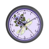 Dragonfly and Pansy Floral Wall Clock