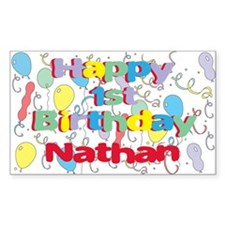 Nathan's 1st Birthday Rectangle Decal