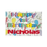Nicholas's 1st Birthday Rectangle Magnet