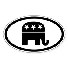 GOP Elephant Oval Sticker (10 pk)