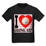 I Love Graphic Art Kids Dark T-Shirt
