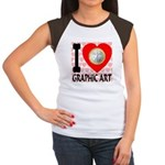 I Love Graphic Art Women's Cap Sleeve T-Shirt