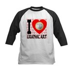 I Love Graphic Art Kids Baseball Jersey