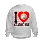 I Love Graphic Art Kids Sweatshirt