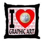 I Love Graphic Art Throw Pillow